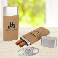 Cigar Case and Cutter In Tan Leatherette