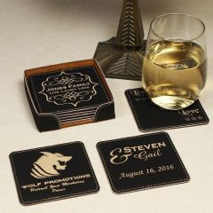 6-Piece Black Leatherette Coaster Set