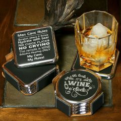 Black Leatherette Coaster Set With Silver