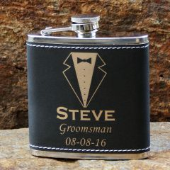 Light Black Flask with Gold Engraving