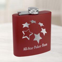 Personalized Flask In Maroon Powder Coat
