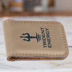 Personalized Money Clip In Tan Leatherette