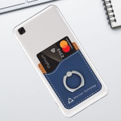 Blue Leatherette Phone Wallet With Finger Ring