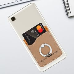Tan Leatherette Phone Wallet With Ring