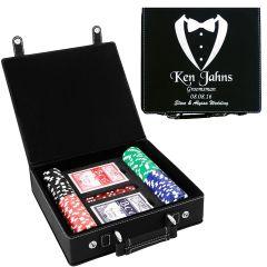 Black Groomsmen Gift Poker Set