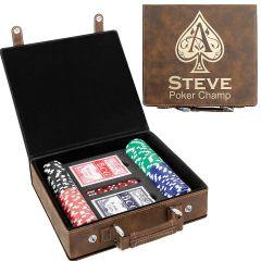 Rustic Leatherette Poker Set