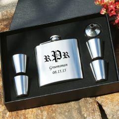 Engraved Silver Flask Groomsmen Gift Set