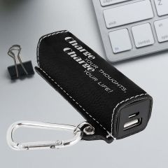 Power Bank in black with silver metallic engraving