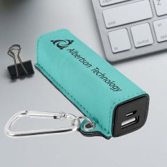 Power Bank in teal leatherette