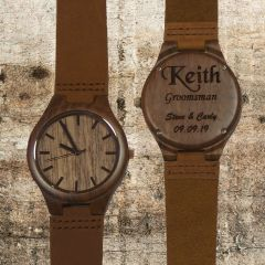Walnut Wood Watch With Leather Band