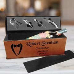 Engraved Groomsmen Gift Wine Box And Tool Set