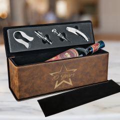 Rustic Leatherette Wine Box Set
