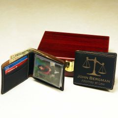 Black Wallet with Gold Engraving