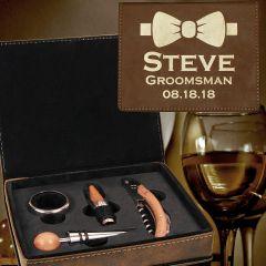 Personalized Groomsmen Gift Wine Tool Set In Rustic