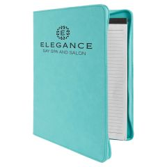 Zippered Portfolio in Teal Leatherette