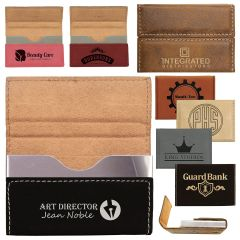Personalized Portable Business Card Holder In Leatherette