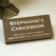 Rustic/Gold Personalized Checkbook Cover