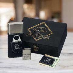 Groomsman Gift Set With Cigar Case, Money Clip & Zippo