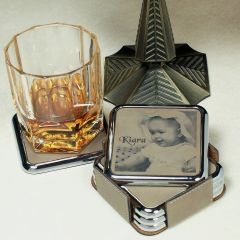 Personalized Tan Leatherette Coaster Set In Silver Trim