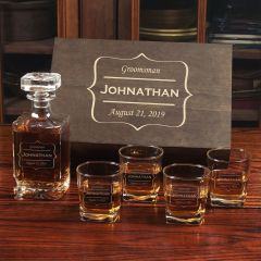 Decanter and four rocks glasses box set