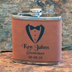 Rawhide Leatherette Groomsmen Gift Flask