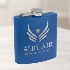Personalized Flask Royal Blue Powder Coat