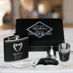 Complete Box Set with flask, shot glass, funnel and knife