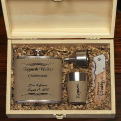 The Mustang Personalized Flask Knife Groomsmen Gift Set Tan