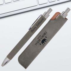 Gray leatherette Ballpoint Pen Gift Set