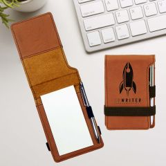 Mini Notepad And Pen in Rawhide Leatherette