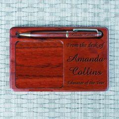 Rosewood Memo Pad Holder w/Rosewood Pen