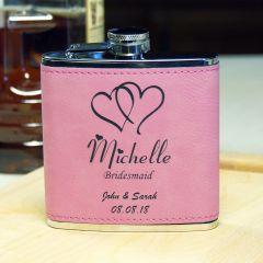 Pink Leatherette Bridesmaid Flask
