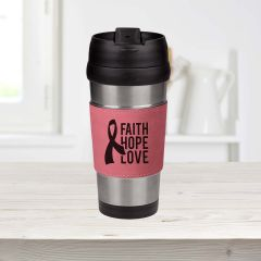 Personalized Travel Mug Pink Leatherette