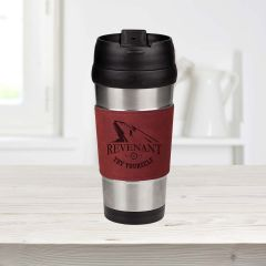 16 Ounce Travel Mug w/Leatherette Grip
