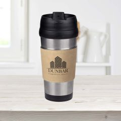 Tan Leatherette Grip Travel Mug