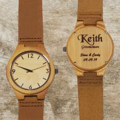 Genuine Bamboo Wood and Leather Band Watch