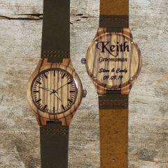 Genuine Zebra Wood Watch With Leather Band