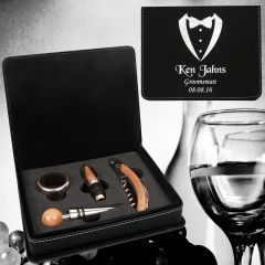 Personalized Groomsmen Gift Wine Tool Set In Black