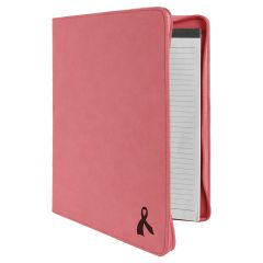 Zippered Portfolio In Pink Leatherette